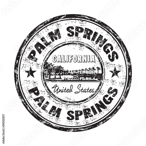 Palm Springs grunge rubber stamp Wall mural