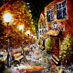Fototapeta Miasto nocą Night old city. Yellow building. Lamps.Oil painting.