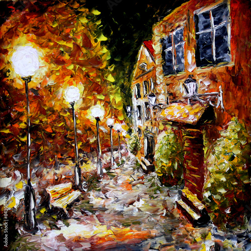 Night old city. Yellow building. Lamps.Oil painting. - 84308497
