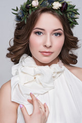 Naklejka Portrait of the bride with big beautiful eyes