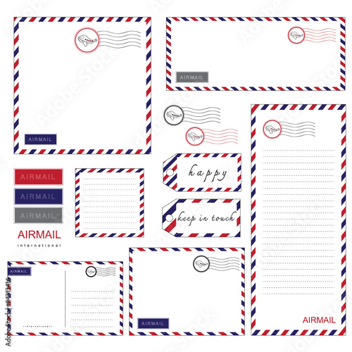 Airmail Stationery set Wallpaper Mural