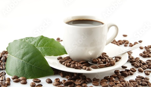 Wall Murals Cafe Scattered coffee beans with cups of coffee and leaf