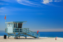 Lifeguard Station With American Flag On Hermosa Beach