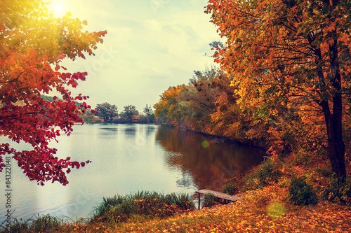 Poster de jardin Lac / Etang Rural landscape at sunset. Lake in autumn