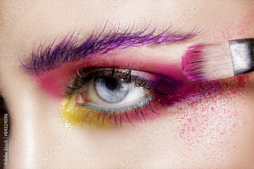 Door stickers Beauty Close up on eyes , making colorful eyeshadows and eyeliner