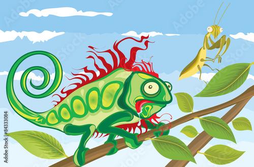 Tuinposter Dinosaurs Chameleon hunting Praying Mantis