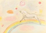 Fototapeta Child room - children drawing - fairy unicorn on rainbow