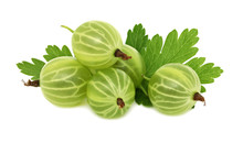 Pile Of Ripe Green Gooseberries With Leaves (isolated)