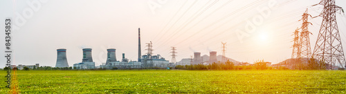 In de dag Industrial geb. Power station during sunset