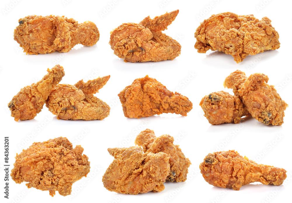 Obraz Golden brown fried chicken on white background. fototapeta, plakat