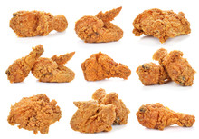 Golden Brown Fried Chicken On White Background.