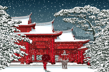 FototapetaJapanese or chinese temple under snow