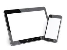 Black Smartphone And Tablet With Blank Screen.