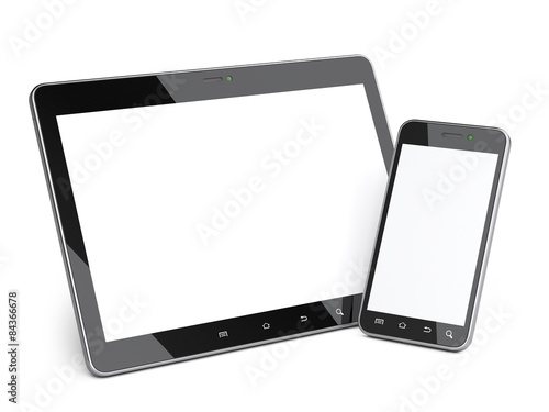 Fotografie, Obraz  Black smartphone and tablet with blank screen.
