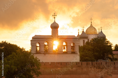 Fotografie, Obraz  Bell Tower and St Sophia cathedral in Veliky Novgorod, Russia