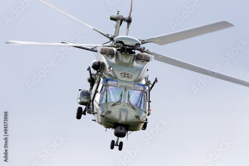 fototapeta na lodówkę Military transport helicopter take off
