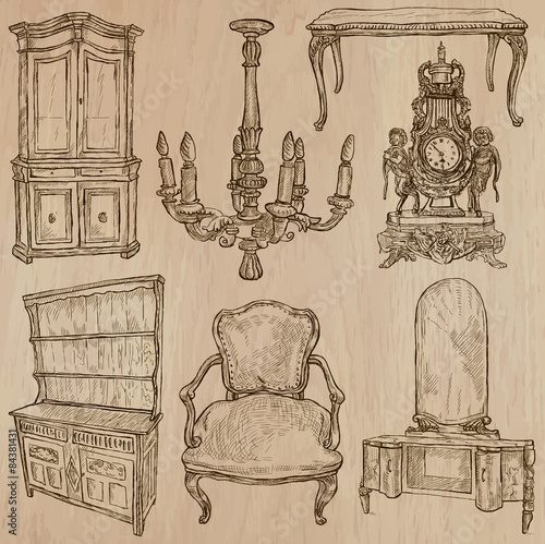 Photo Stands Illustration Paris Furniture - Vector sketches, line art