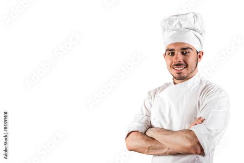 Foto  Cuoco sorridente in divisa bianca