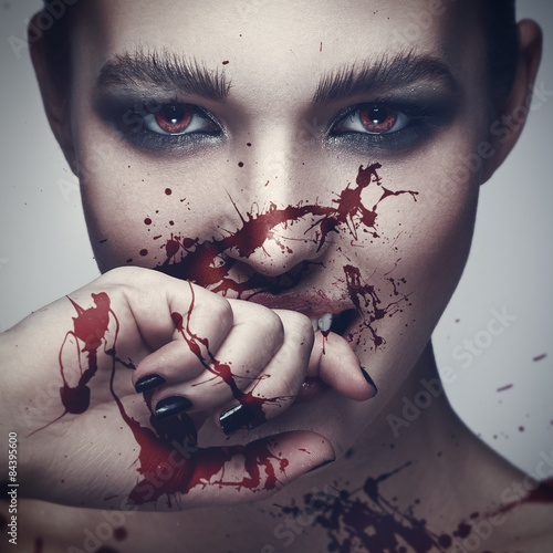Fotografie, Obraz  Vampire woman with blood on her face