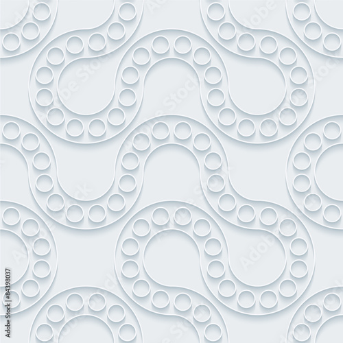 Foto op Plexiglas Abstract wave White paper with outline extrude effect. Abstract 3d seamless background. Halftone vector EPS10.