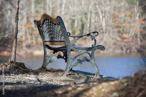 Fotografie, Obraz  Bench on pond