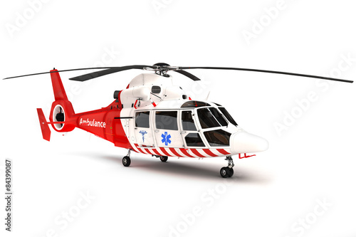 Fotografie, Obraz  Rescue helicopter on a isolated white background