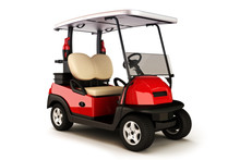 Red Colored Golf Cart On A Whi...