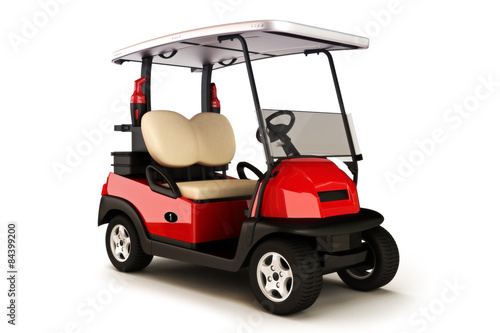 Poster Golf Red colored golf cart on a white isolated background