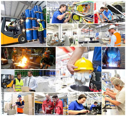 Fotografía  Collage Industrie: Arbeiter - Produktion - Fabriken - Logistik