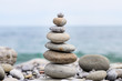 Round Smooth Stones Stacked on Rocky Beach