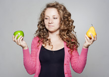 Portrait Of Beautiful Woman With An Apple And Pear