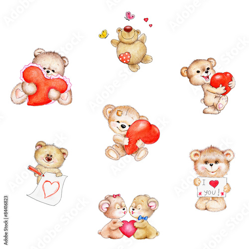 La pose en embrasure Ours Set of cute Teddy bear with red hearts