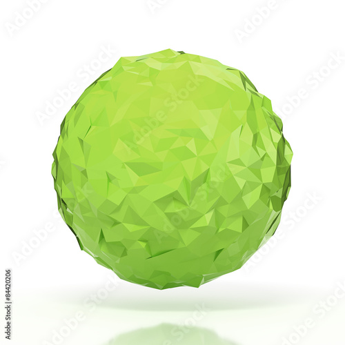 Green triangular 3D sphere on white isolated with clipping path