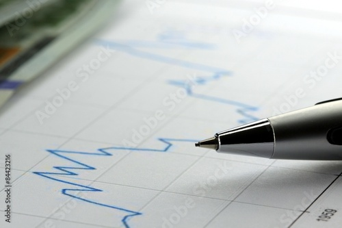 Photo  Financial graph used for accounting, analyzing or stock market trading