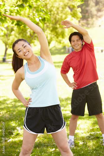 Poster Jogging Asian couple exercising