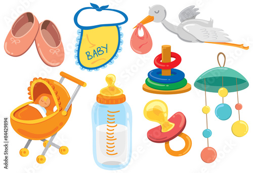 Vászonkép baby stuff cartoon icon