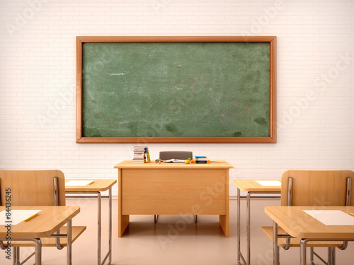 3d illustration of bright empty classroom for lessons and traini