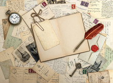 Open Travel Book, Old Accessories And Postcards. Scrapbooking Co
