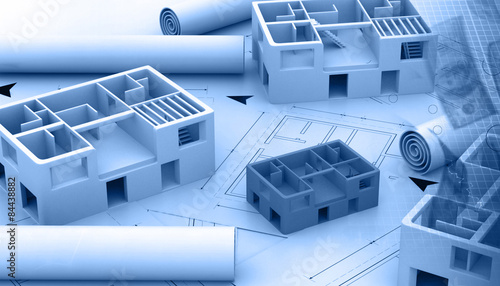 Blue print of a architectural project Canvas Print