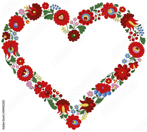 Canvas-taulu Hungarian embroidery heart frame