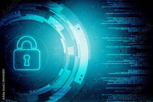 Fotografia  Security concept: Lock on digital screen, contrast, 3d render
