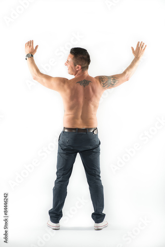 Back of muscolar man isolated on white