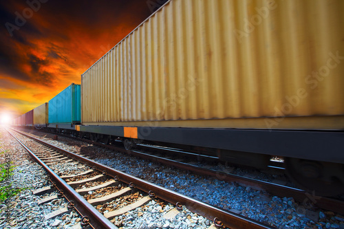 Fotografie, Obraz  boxcar container trains on track use for indutry land transporta