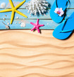 flip-flop, starfish, seashells and coral on wooden and sand as beach background