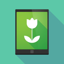 Tablet Pc Icon With A Tulip