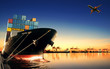 canvas print picture - container ship in import,export port against beautiful morning l
