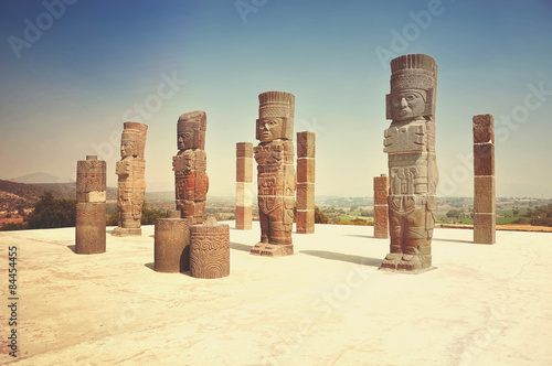 Ancient ruins of Tula de Allende - archaeological site in Mexico Canvas Print