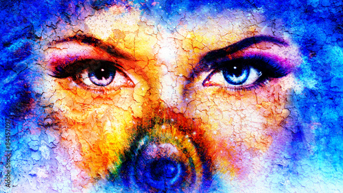 Fototapety, obrazy: pair of beautiful blue women eyes looking up mysteriously
