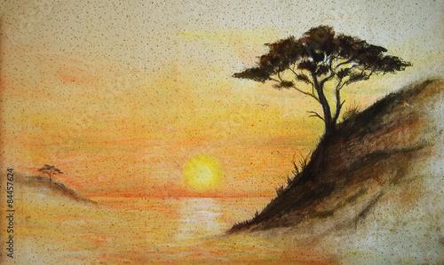namalowany-zachod-slonca-morze-i-drzewo-krajobraz-nadmorski