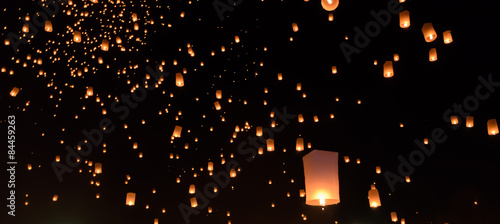 Sky lanterns festival or Yi Peng festival in Chiang Mai, Thailan Canvas Print